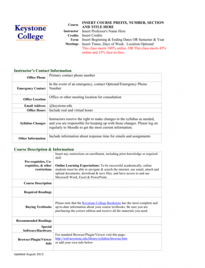 Costum E Learning Course Outline Template Doc Sample