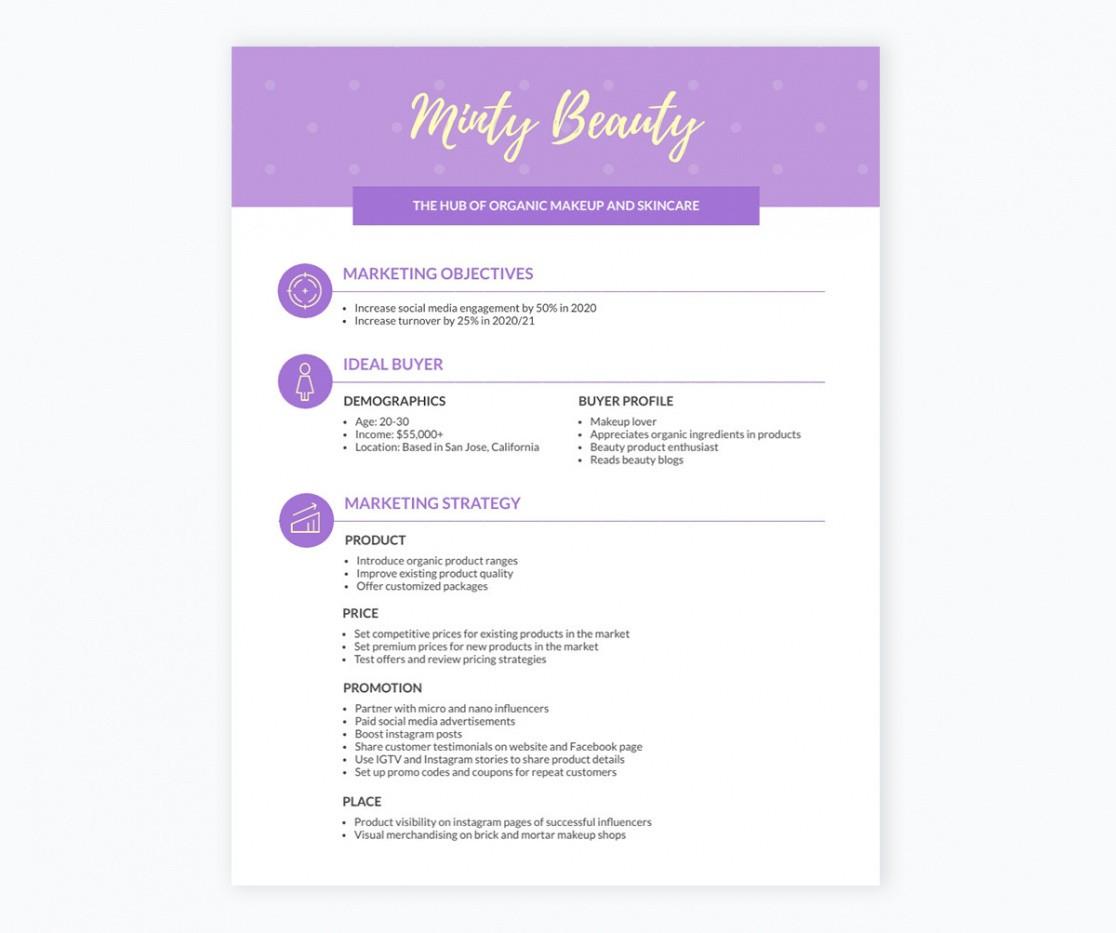 costum marketing plan outline template pdf