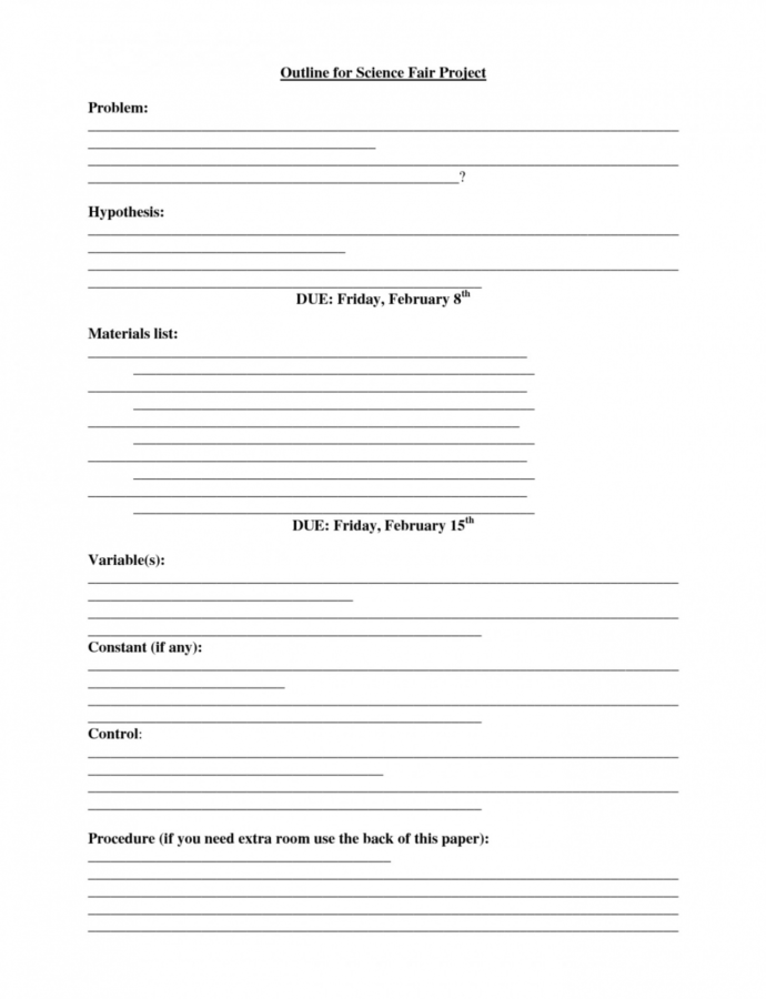Costum Science Project Outline Template Word Sample