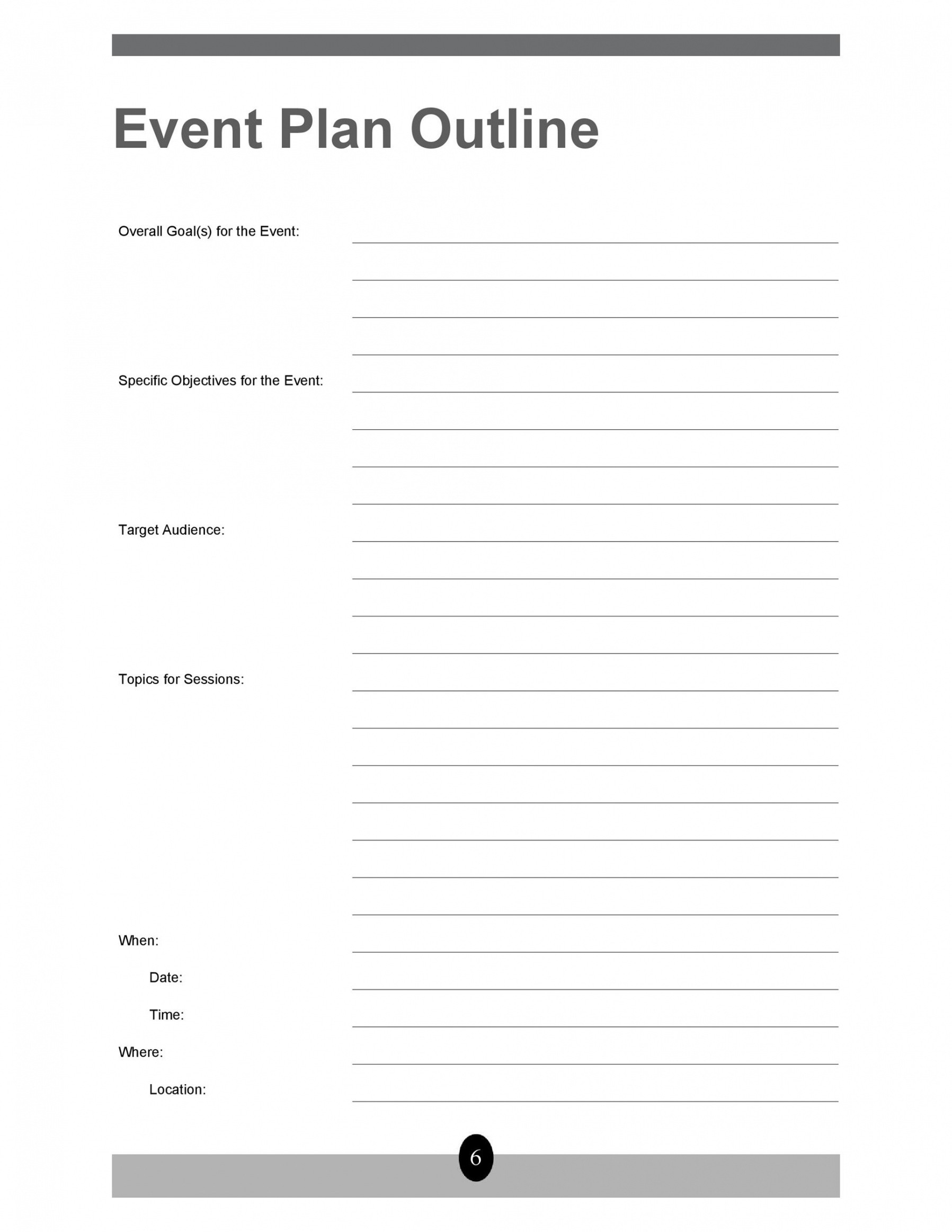 free event planning outline template excel example