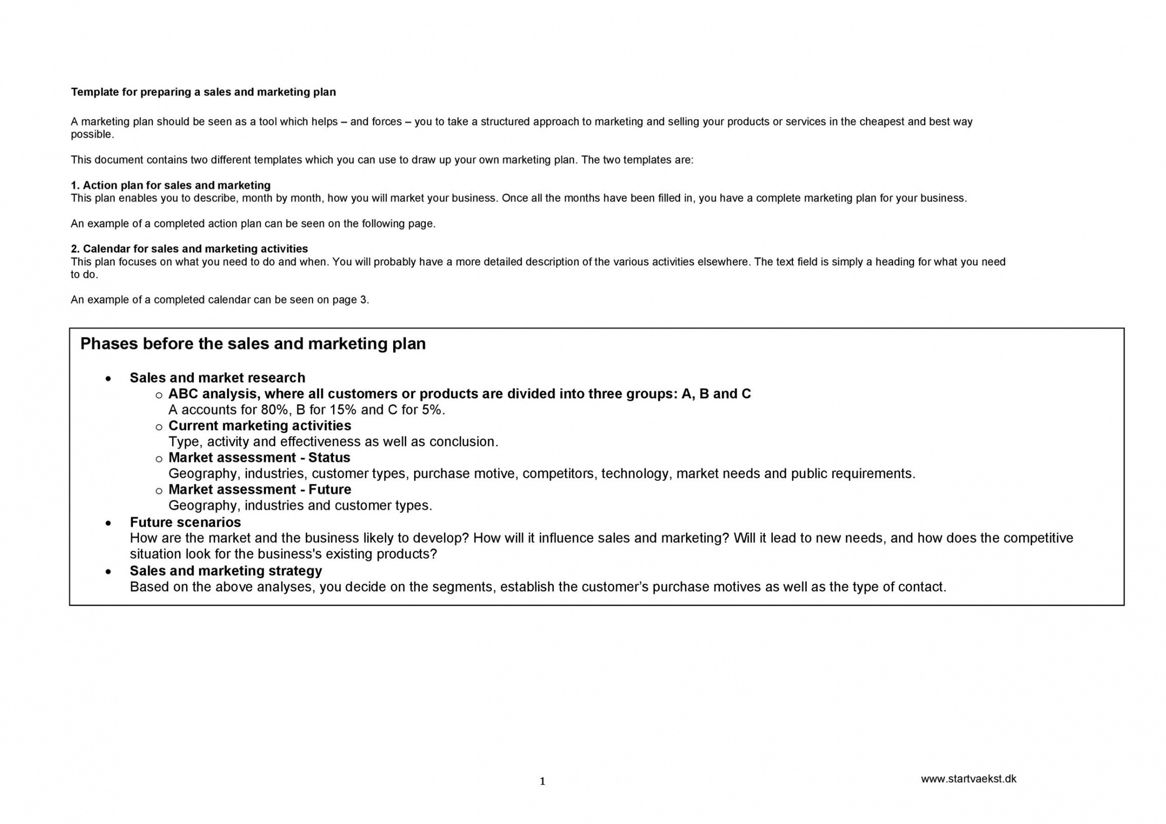 sales plan outline template excel example