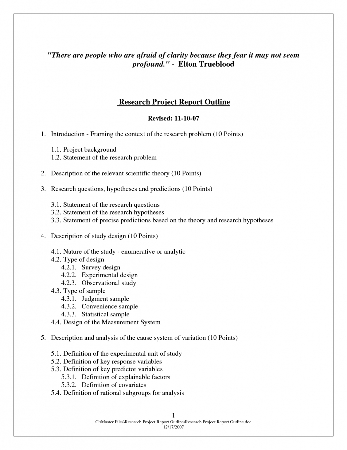science project outline template doc sample