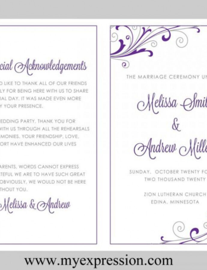 Best Wedding Program Outline Template  Example