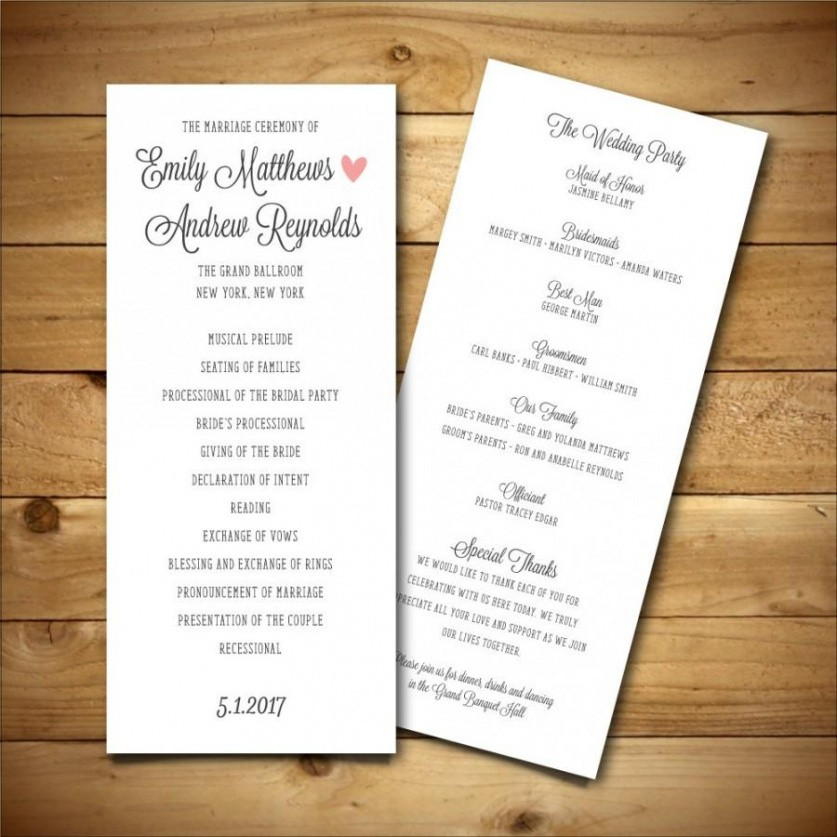 best wedding program outline template