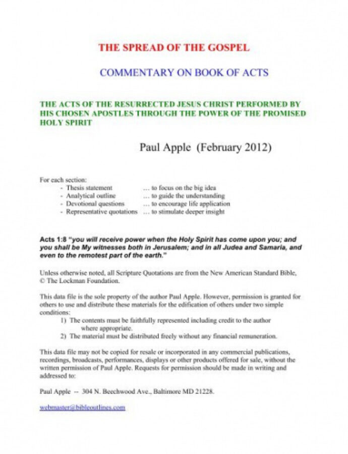 Bible Study Outline Template  Example