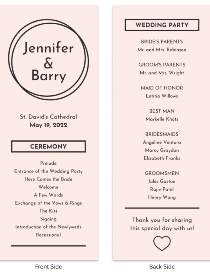 Costum Wedding Program Outline Template Excel Example