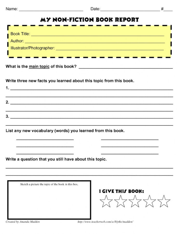Editable Book Report Outline Template Doc Sample