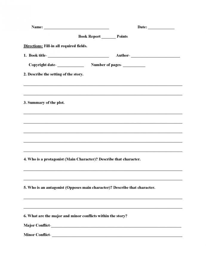 Editable Book Report Outline Template PDF Example