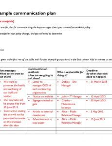 editable communication plan outline template doc sample