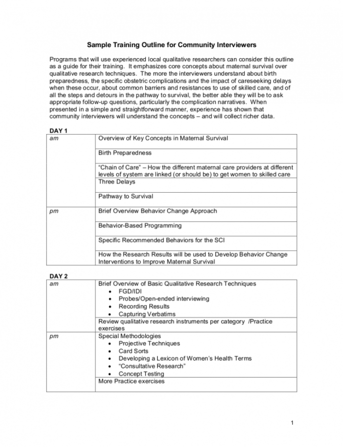 Editable Training Class Outline Template Doc
