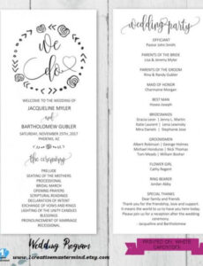 editable wedding program outline template pdf example