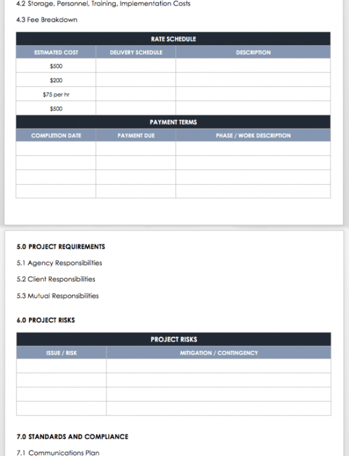 Free Scope Of Work Outline Template Excel