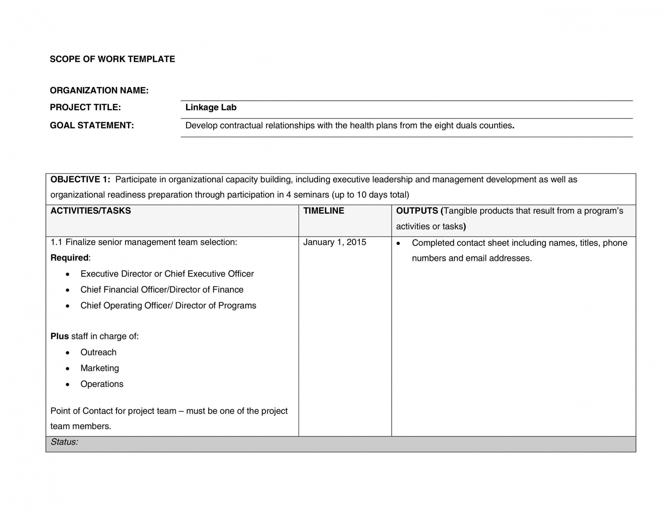 free scope of work outline template word example