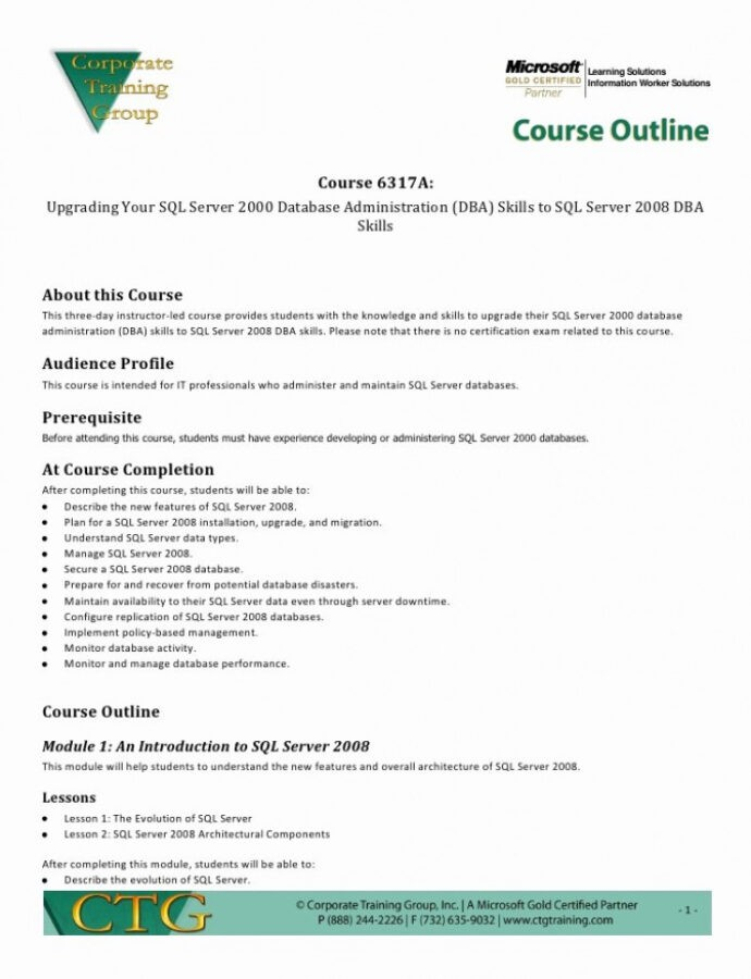 Free Training Class Outline Template Doc Example