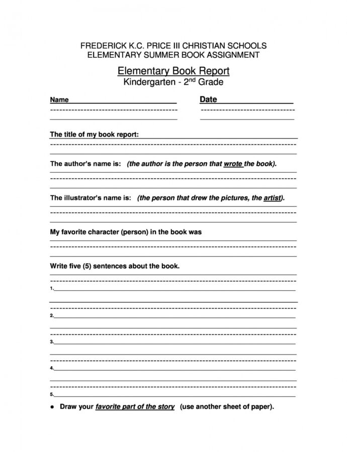 Printable Book Report Outline Template