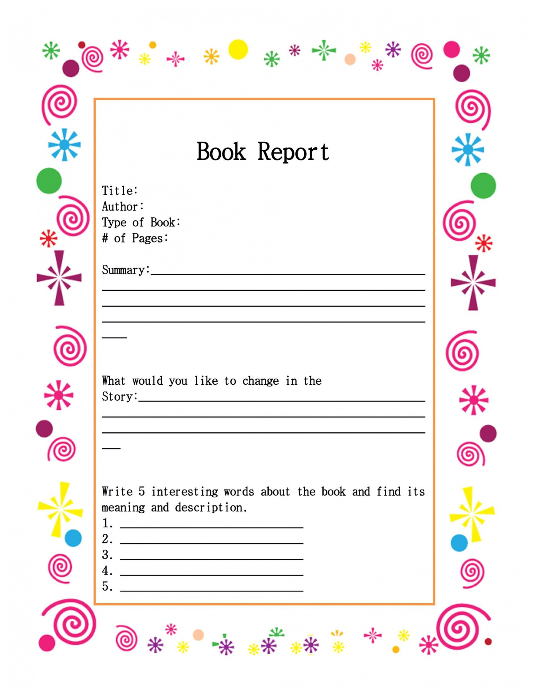 professional book report outline template  example