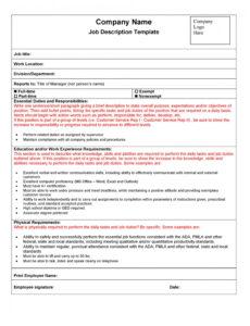 professional job description outline template doc