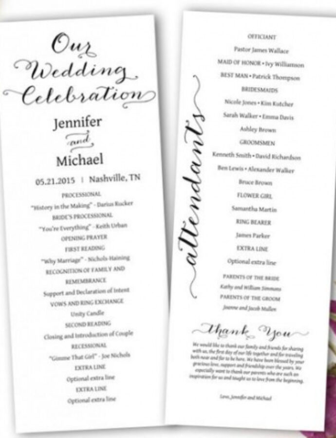 Wedding Program Outline Template Excel Sample