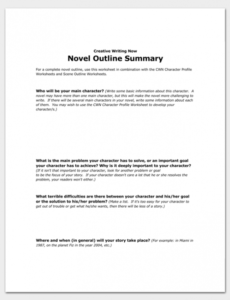 costum fiction novel outline template excel example