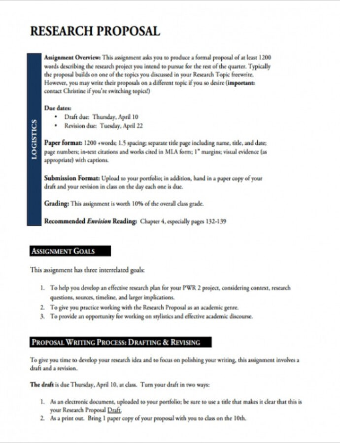 Costum Research Proposal Outline Template Doc