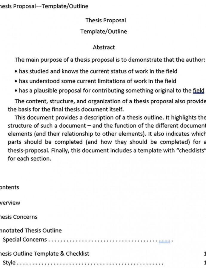 Editable Dissertation Outline Template  Sample