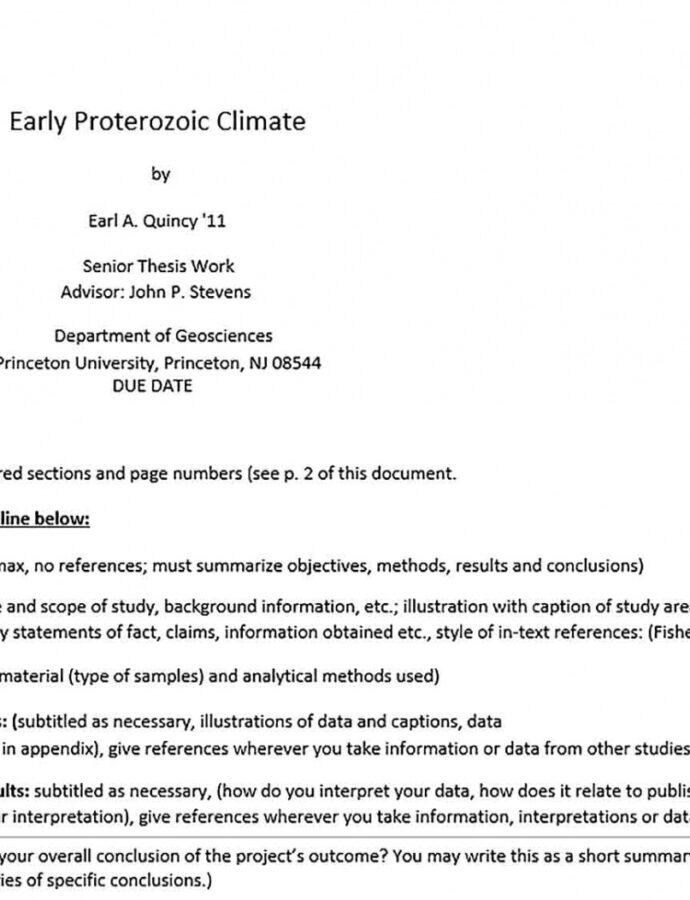 Editable Dissertation Outline Template Word Sample