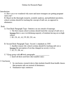 editable research report outline template doc sample