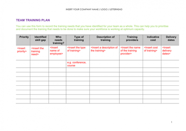 editable training plan outline template  example