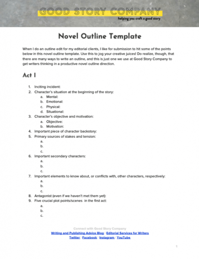 Mystery Novel Outline Template Doc