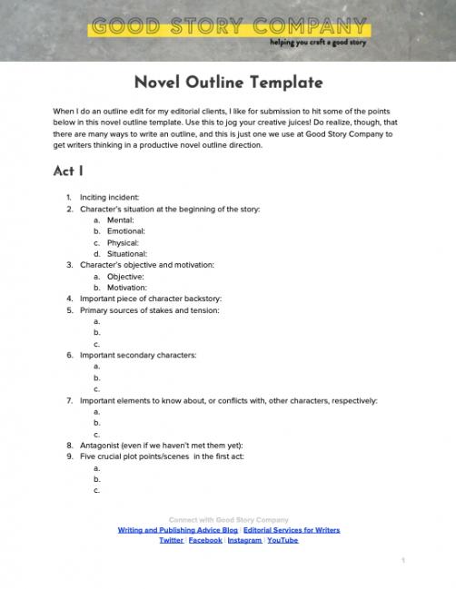mystery novel outline template doc