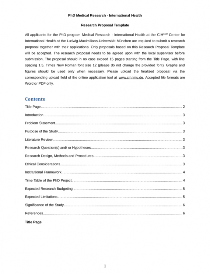 Printable Research Proposal Outline Template Doc Sample