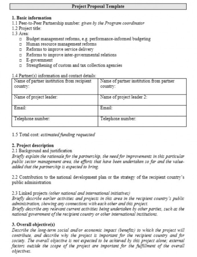 Project Proposal Outline Template Excel Sample