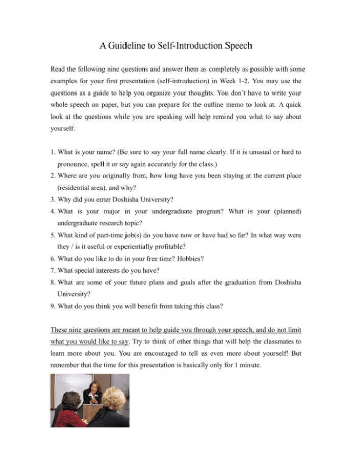 Self Introduction Speech Outline Template PDF Example