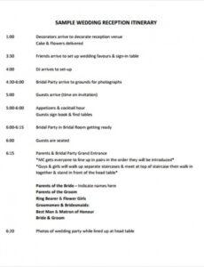 Printable Wedding Event Timeline Template Pdf Sample