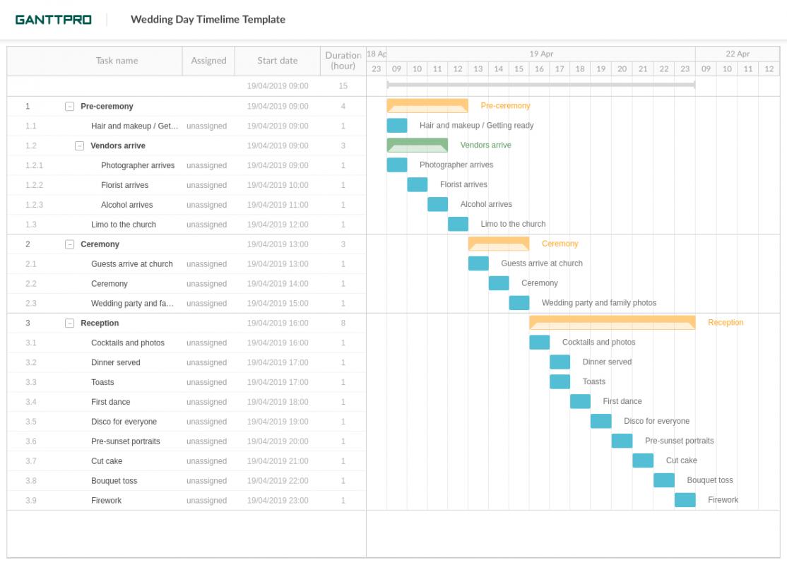 Printable Wedding Event Timeline Template Word Sample