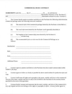 Free Musicians Contract Template Doc Example