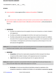 Musicians Contract Template Doc Example