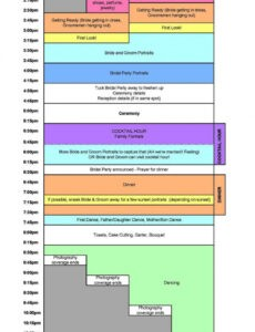 Printable Wedding Timeline Template For Photographers Excel Sample