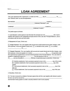 Costum Borrow Money Contract Template  Sample