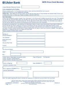 Direct Debit Contract Template Pdf Sample