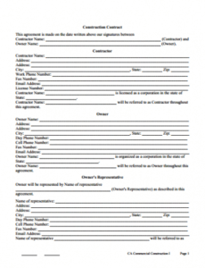 Free Fabrication Contract Template Doc