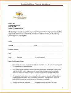 Free Seasonal Snow Removal Contract Template Excel Sample
