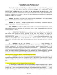 Professional Food Service Contract Template