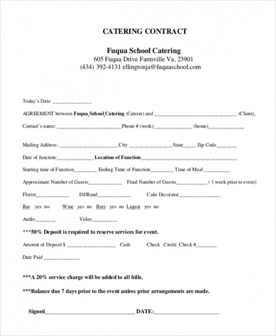 Professional Food Service Contract Template Pdf Sample